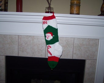 Personalized Handmade Knitted Christmas Stocking *Wool Available* - Santa with fuzzy beard & Candy Cane