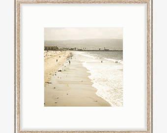 Hermosa Beach Photography, California Art Print, Ocean Waves Surf Coastal Los Angeles Nautical Pastel South Bay Neutral Beach House Decor