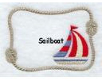 Sailboat 1 Quilt Label machine embroidered personalized