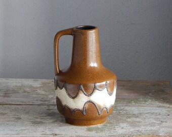 Vintage East Germany VEB Haldesleben Vase Ceramic Vase Brown Glaze 4073
