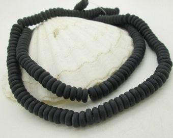 Matte Black Obsidian Rondelle Bead, Black Stone Rondelle, Black Stone Disc Bead 8mm, (60)
