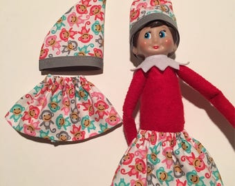 Fingerlings Monkey - Christmas Scout Elf Skirt & Hat Set -- Colorful Baby Monkeys -- Holiday Pixie Girl Elves Doll Clothes