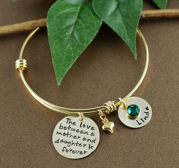 Love between a Mother and Daughter is Forever Bracelet, Personalized Bangle Bracelet, Gold Bangle Charm Bracelet - Name Bracelet