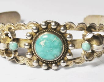 """Sterling Silver Turquoise Handcrafted Unsigned Bangle Cuff Bracelet 9.25"""" 23mm"""