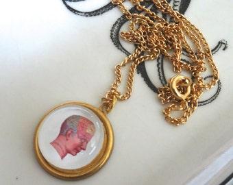Phrenology Head Necklace Vintage