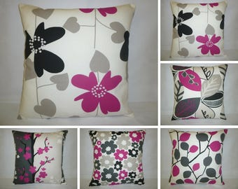 """5 Pillow Covers Set Fuschia Pink Designer Cushion Covers Throw Accent Scatter Pillows 16"""" (40cm)"""