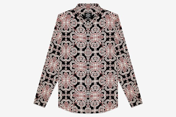 paisley shirt red man psychedelic Cross black SaqwEST