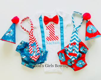 Dr Seuss Cat in the Hat 1st First Twins Birthday Smash Cake Party Outfit Bow Tie Onesie Baby Toddler Boys Shirt Bottoms Personalized Hat