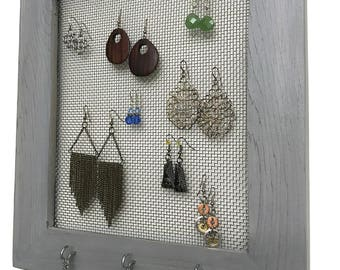 Rustic Frame Jewelry Organizer, Earring Storage, Necklace Hanger, Earring Frame, Jewelry Storage, Earring Display, Gray Frame