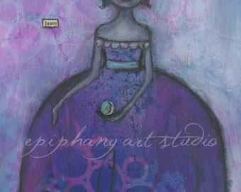 "Fine Art Print - 8"" x 12"" Giclee Purple Magical Wall Decor Art - ""A Brave New Magic"" Divine Feminine Gown Magic Mystery Mystical Mysterious"