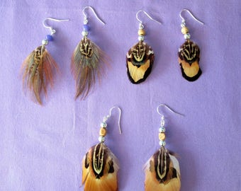 Clearance - Three pairs of pheasant feather earrings  -  135