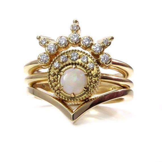 Opal Moon Priestess Engagement Ring Set - 14k Yellow Gold Boho Stacking Rings