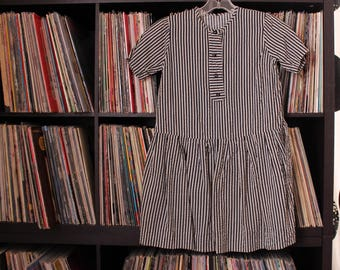 girls vintage seersucker drop waist dress - black and white stripes