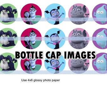 "Vampirina printables  4x6 - 1"" circles, bottle cap images, stickers"