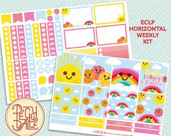 Sunshine Lollipops & Rainbows Weekly Kit Planner Stickers | Erin Condren Horizontal | Weather | Sweets | Food | Dessert