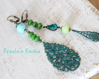 Earrings Elaine Boho Chic Bronze Asymmetric turquoise green Chandeliers long hippie unique bohemian