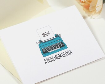 Cute Retro Typewriter Custom Personalized Stationery Card Set Everyday Thank You Card Set