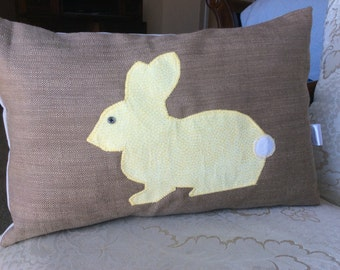 Easter Bunny Pillow Cover, Easter Rabbit Pillow, Easter Decor,Burlap Easter Pillow, Yellow Bunny Cushion, Easter Accent Pillow,