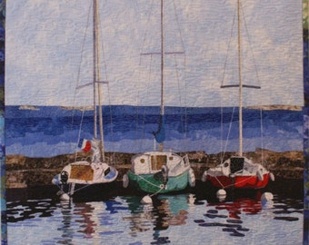 Sailboats Art Quilt Pattern by Lenore Crawford