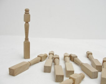 Wooden dollhouse newel posts, tiny turned posts, mini balusters, table legs set of 10