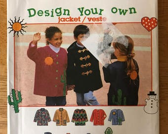 Simplicity 9303 - Kid's Easy to Sew Jacket with Button or Toggle Closure and Applique Options - Size 5 6 7 8 - MN