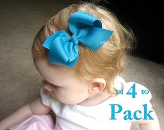 PICK 4 - Girl Hair Bows - Loopy Bows - hair bow set - large hair bows - big hair bows - bows for girls - toddler hair bows - 3.5 inch bows