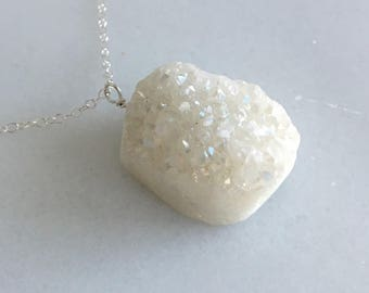 White druzy necklace, large druzy, raw druzy, gift for her, natural stone, statement necklace