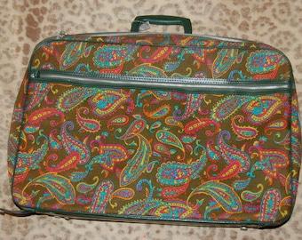 Mod Paisley Psychedelic Suitcase Vintage Retro 60s 70s Luggage