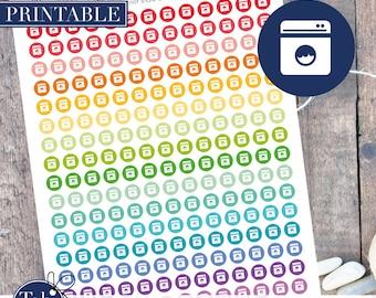 LAUNDRY planner stickers printable.  Washing machine 208 rainbow printable planner dot stickers for Erin Condren planner, Happy planner.