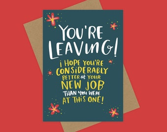 New Job - Sorry You're Leaving Card - Colleague - Work - Greetings Card