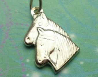 Vintage Sterling Silver Dangle Charm - Horses