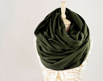 Oversized Infinity Scarf, Olive Green Scarf Chunky Scarf, Hooded Scarf, Extra Large Winter Scarf Hood Clothing Gift for Her Travel Gift