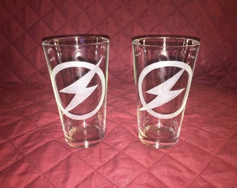 Flash Hand Etched Pint Glasses!