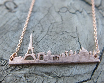 Rose Gold Paris Necklace, Paris Skyline Necklace, Gold Dainty Necklace, Simple Necklace, Everyday Necklace, Bridesmaids Necklace