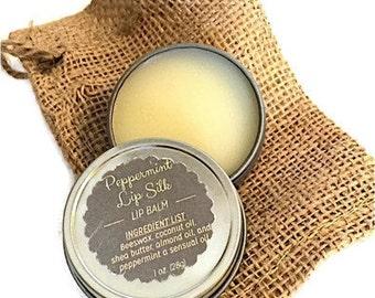 All Natural LIP BALM- Handmade Sulky Peppermint Lip Balm, All Natural Lip Conditioner, Esential oil Chapstick, 1 oz Tin