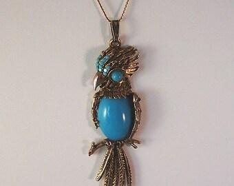 Vintage Crown Trifari Bird/Parrot Necklace - Faux Turquoise Cabochon Pendant Necklace