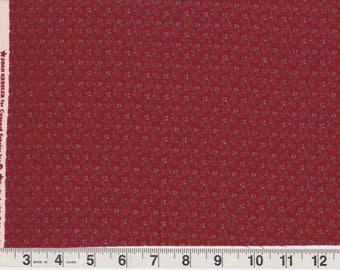 "Vintage Joan Kessler Concord Fabrics | brick red calico blue flower vines print cotton quilt fabric | Fat Quarter 18"" x 22"" pre-cut"