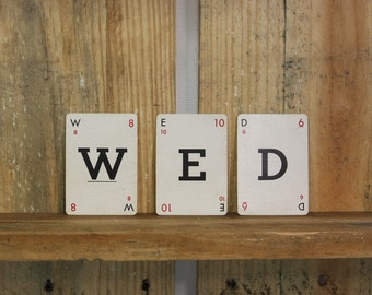 Vintage Lexicon LETTER CARDS- Parker Brothers- WED- Wedding Decor- Bride- Crossword Lexicon Copyright 1937-  Frameable