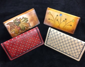 Hand Tooled Leather Checkbook Covers
