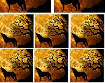 Coyote and the Moon   ~ 81041 ~ Fusible Glass Decal ~ Ceramic Decal ~ Images Designed for Jewelry