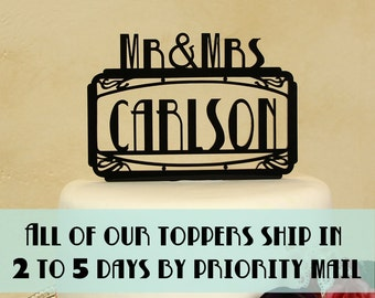 """Wedding cake topper Art Deco Style Mr. and Mrs. personalized """"in your name"""" by Distinctly Inspired (style R-6)"""
