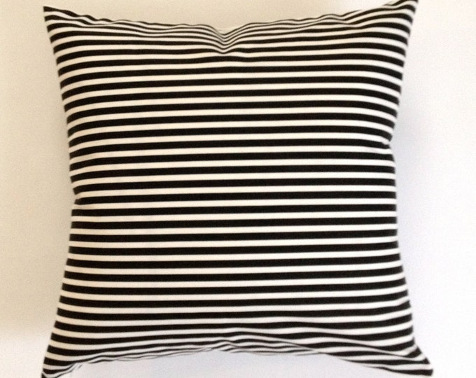 Decorative Throw Pillow Black and White Striped Medium Weight Cotton SET OF TWO
