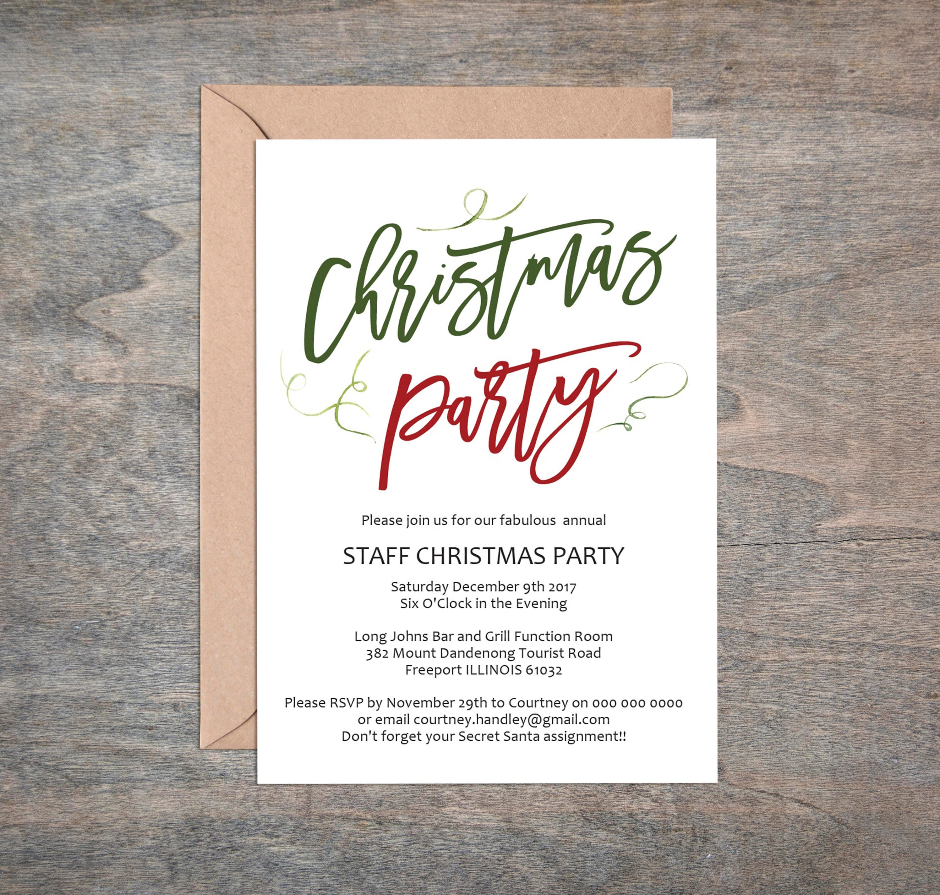 Christmas Party Invitation Printable Invitation Template