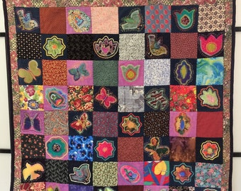 Quilted Wall Art. Wall Hanging. Wall Decor. Handsewn Quilt. Wall Art. Quilted Wall Hanging. Flower Quilt. Butterfly Quilt. Bright Quilt.