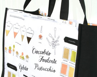 Gelato Tote Bag - Farmers Market Bag - Shopping Bag