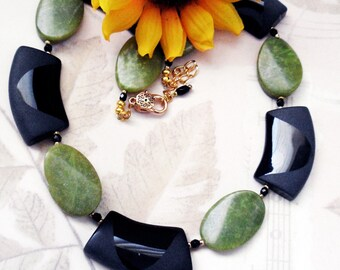 Onyx and Jade Necklace, Green and Black beads, Adjustable, Statement piece,