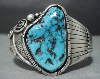 Outstanding Vintage Navajo Old Morenci Turquoise Sterling Silver Cuff Bracelet