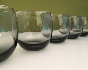 Retro Roly Poly Grey Smoked Tumblers