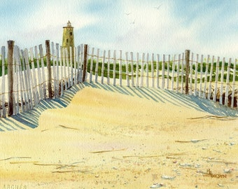 Bald Head Lighthouse with sand fence giclee print