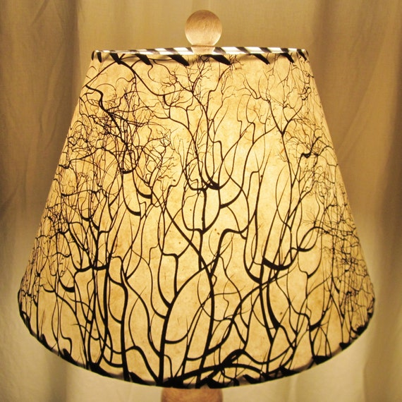 Superb Tree Root Silkscreened Paper Lamp Shade, Custom Lamp Shade, Nepalese Paper  Lampshade, Lokta Paper, Washer Top Lamp Shade, Black And White
